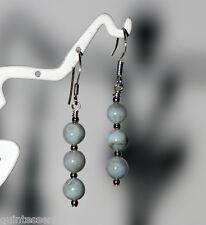 Sterling Silver 5mm Genuine Natural Larimar Bead Stick Earrings