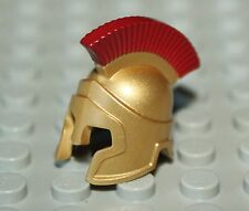 LeGo Metallic Gold Minifig Headgear Helmet Spartan Warrior w/ Dark Red Crest NEW