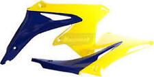 2 Ouïes flancs de radiateur POLISPORT jaune /bleu SUZUKI 450 RMZ   2008-2013