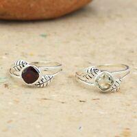 Solid 925 Sterling Silver Jewelry Garnet Gemstone Handmade Office Wear Ring