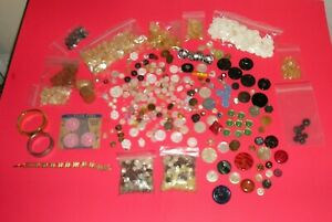 Lot of Vintage Buttons and Bracelets - MORE!!! Bakelite, Shell, Etc.