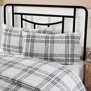 VHC 2 Black White Plaid Cotton Country Farmhouse Bedding Pillow Shams