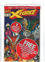X-Force #1 NM- 9.2 Marvel Comics Sealed with Deadpool Trading Card 1991 Liefeld