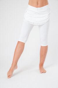 Women's White Cotton Cropped Legging's, Kundalini Yoga Clothing, Yoga Pants
