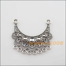 2 New Charms Tibetan Silver 2-8 Moon Flower Pendants DIY Connectors 42x46mm