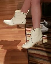 Dolce Vita Cowboy White Leather Booties Size 6