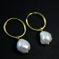GENUINE 925 Sterling Silver Hoop Natural Baroque Pearl Drop Earrings UK New