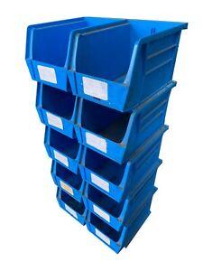 10 x USED LINBIN SIZE 4 BLUE Small Parts Bins - D 21 cm x W 14 cm x H 14 cm