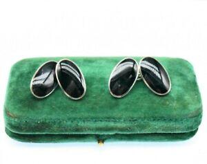 Vintage Sterling Silver cufflinks Art deco Peaky Blinders Gift Black Onyx #L579