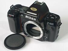 Nikon F801 SLR 35mm Film Camera Body + Cap + MF-21 Data Back - Tested, Working