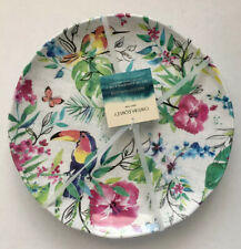Cynthia Rowley New melamine Colorful Bird ,Flower Set Of 4 Dinner plates -Dishes