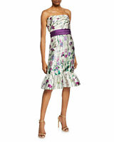 Marchesa Notte Floral-Print Strapless Mikado Dress with Bow Detail & Ruffle Hem