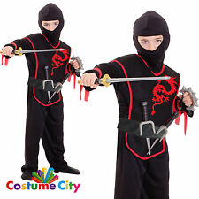 Childs Ninja Assassin Boys Fancy Dress Costume & Accessory Set