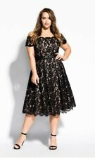 City Chic Black and Beige Floral Evening Lace Dreams Dress Size XS