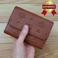New Authentic MCM Klara Leather Bi-Fold Wallet RUST