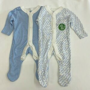 NEW Ex Store 2 Pack Baby Boys Blue Dash Soft Cotton Sleepsuits Babygrows