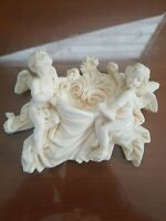 Vintage Sculptor A. SANTINI Resin Cherub Angel hanging Made in Italy