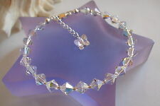 STERLING SILVER AB CRYSTAL BRIDESMAID BRACELET WITH BUTTERFLY HANDMADE GIFT