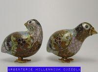 CLOISONNE UCCELLI QUAGLIA UCCELLINI VINTAGE CLOISONNE LITTLE BIRDS QUAILS