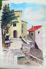 ✅Acquerello '900 su carta Watercolor-Case vecchio borgo-firmato A.Bergamo (81)