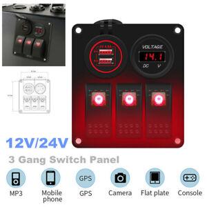 3 Gang Switch Panel for 12V/24V Car Boat Yacht Red LED Rocker Breaker Controls