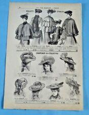 1905 Ancienne Publicité Gravure Modes Chapeau velours Feutre plumes capeline