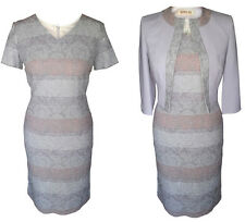 MOTHER OF THE BRIDE GROOM OUTFIT JACKET DRESS 2 PIECE SIZE 14 GREY SILVER COPPER