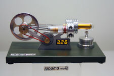 Stirling Motor m. Generator u. Voltmeter Heissluftmotor Physikmodell inHolzkiste