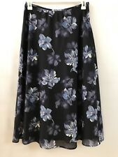 Kasper Petite Women's Size 10 Black Floral Sheer Lined Modest A Line Skirt