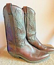 Vintage Cowboy Boots Cognac Brown Leather Stitch Md n Usa Boho Coachella 7.5 Euc