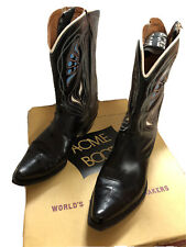 Vintage 1940's/50's Acme Cowboy/Cowgirl/Western Black Boots With Inlay Size 7A
