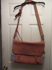 Cole Haan Leather/ Tan Beige/Blue Canvas Extra Large Messenger Bag