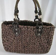 Brown Straw Weave Purse Handbag Satchel Shells Wood Beads Lined