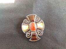 Irish Celtic Maltese Cross pin Pendant Gemstones Agate Jet Carnelian