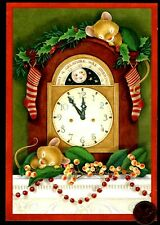 Vintage Christmas Hallmark Mice Sleeping Clock Mantle -Greeting Card W/ Tracking