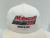 Vtg Motorcraft 500 March18, 1990 Embroidered White Strapback Hat/Cap USA - NOS