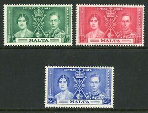 Malta 1937 Coronation S188-190 Scott 188-90 Mint A199  ⭐⭐⭐