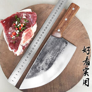 Cutter Pork split Knife Slaughter Butcher Cleaver Chinese Style Chef Kitchen