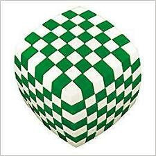V-Cube 7 Green and White Illusion Cube Puzzle Brain Teaser-Used