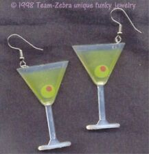 Huge Funky MARTINI GLASS EARRINGS Cocktail Beach Party Bar Drink Novelty Jewelry