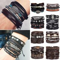 Father's Day Leather Bracelets Set Punk Wrap Braided Wristband Men Cuff Bangle