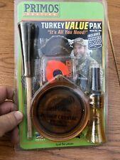 "Primos Value Pak Of Turkey Calls,""Power Crystal"" Crow,Diaphragm, Striker Dvd."