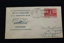 NAVAL COVER 1949 SHIP CANCEL 1ST DAY POSTAL SVC USS GREENWOOD (DE-679) (3458)