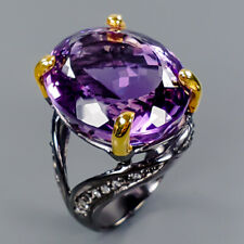 Gemstone jewelry Natural Amethyst 925 Sterling Silver Ring Size 8.5/R101006