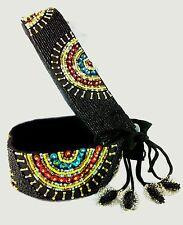 Belly Dancer Belt Beaded Black 87cm Adjustable Aztec Surf Kuchi Gypsy BoHo