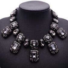 Black Glas Strass Statementkette Halskette Kette Collier Modeschmuck in schwarz
