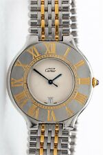 Estate $3500 Mens 18k Gold SS Cartier Calendar 36mm Mens Dress Watch RARE & BOX