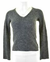 DIESEL Womens V-Neck Jumper Sweater Size 10 Small Blue  NP09