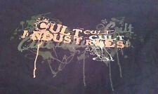adult Medium CULT INDUSTRIES Skull Splatter Black T-shirt Trendy Biker Skater M