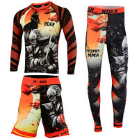 ROAR MMA Grappling No Gi Wear UFC Fight Shorts BJJ Rash Guard Muay Thai Leggings